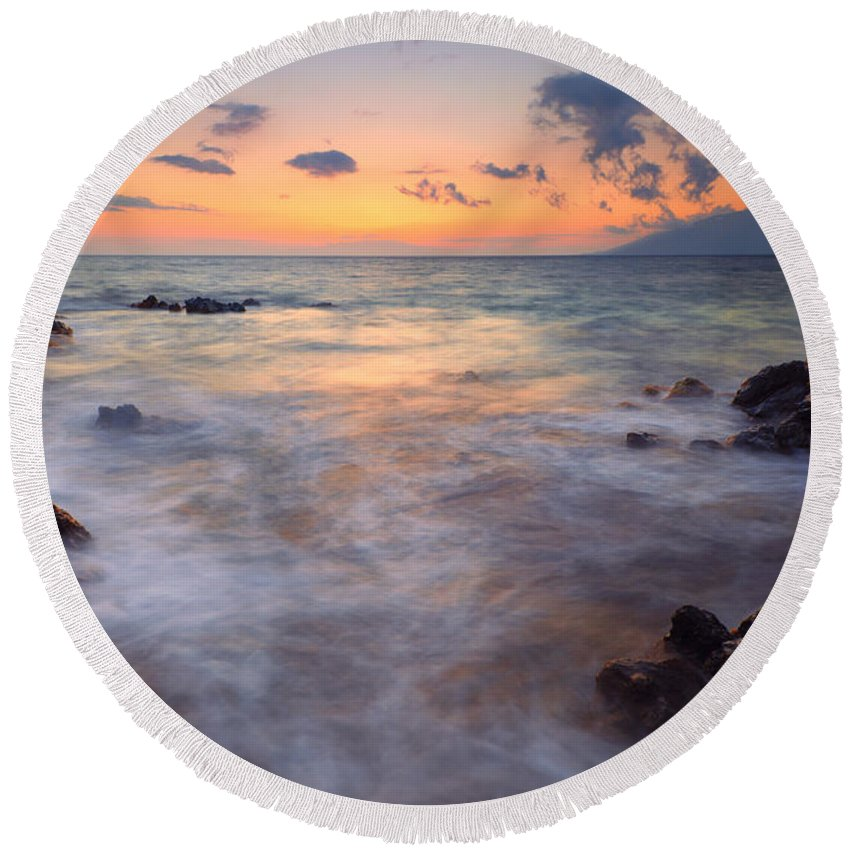 Maui Round Beach Towel featuring the photograph Covered By The Sea by Mike Dawson