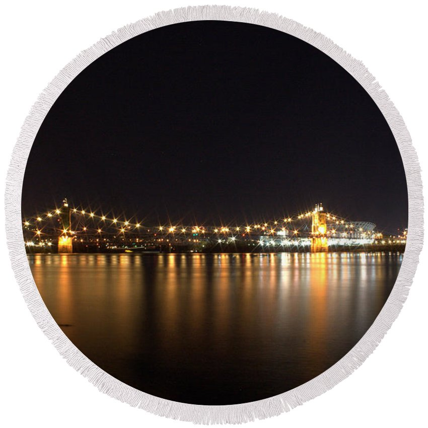 River Round Beach Towel featuring the photograph Covington Skyline I by Artistic Explorer Creations By Gregg L Walker