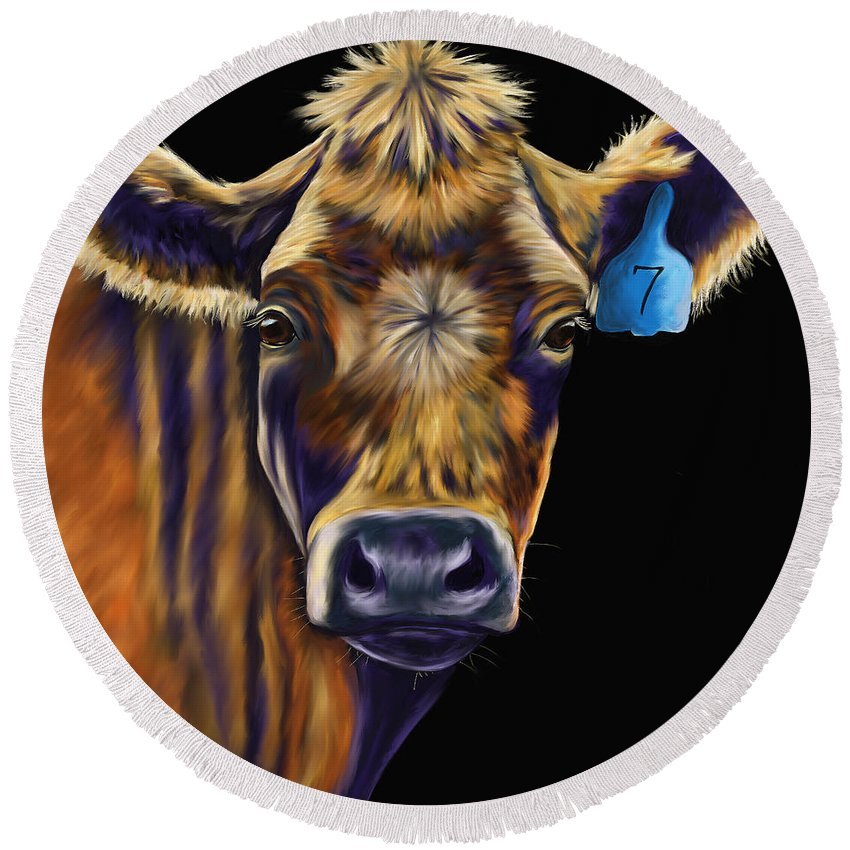 Cows Round Beach Towel featuring the painting Cow Art - Lucky Number Seven by Michelle Wrighton