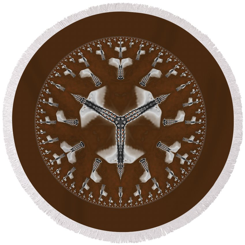 Brown Mandala Round Beach Towel featuring the digital art Cowboy Bolo Tie by Judi Suni Hall