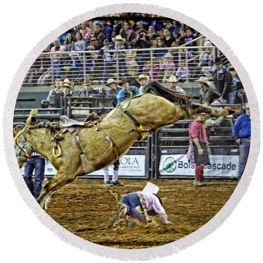 Bronc Rider Round Beach Towel featuring the photograph Cowboy Down by Alice Gipson