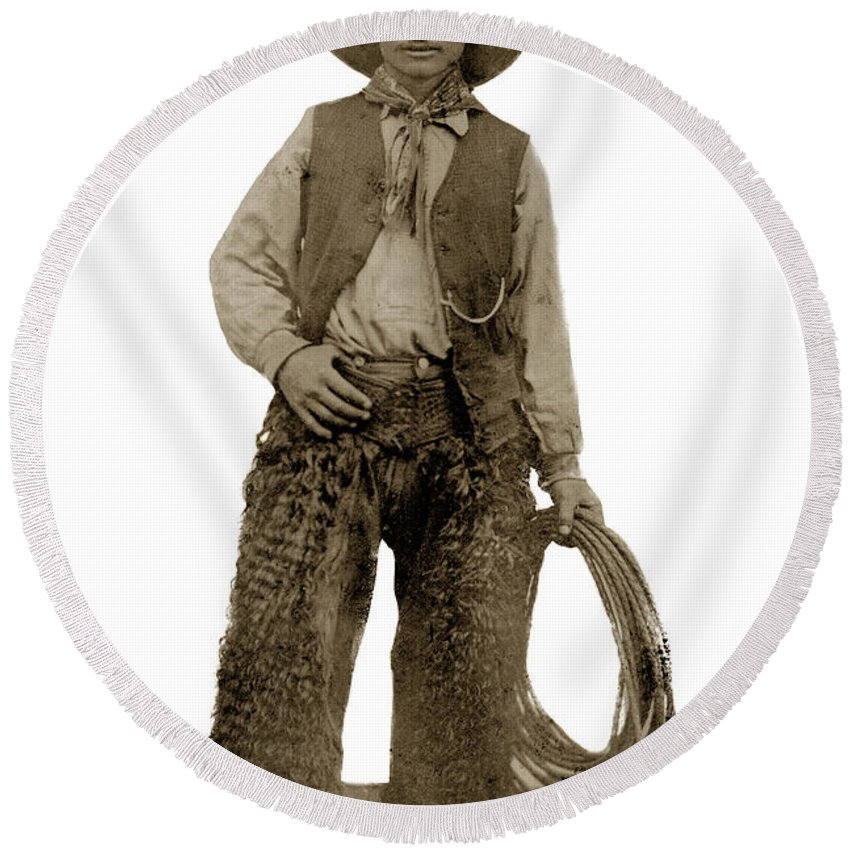 Cowboy Round Beach Towel featuring the photograph Cowboy With Woolies Cowboy Hat 1900 by California Views Archives Mr Pat Hathaway Archives