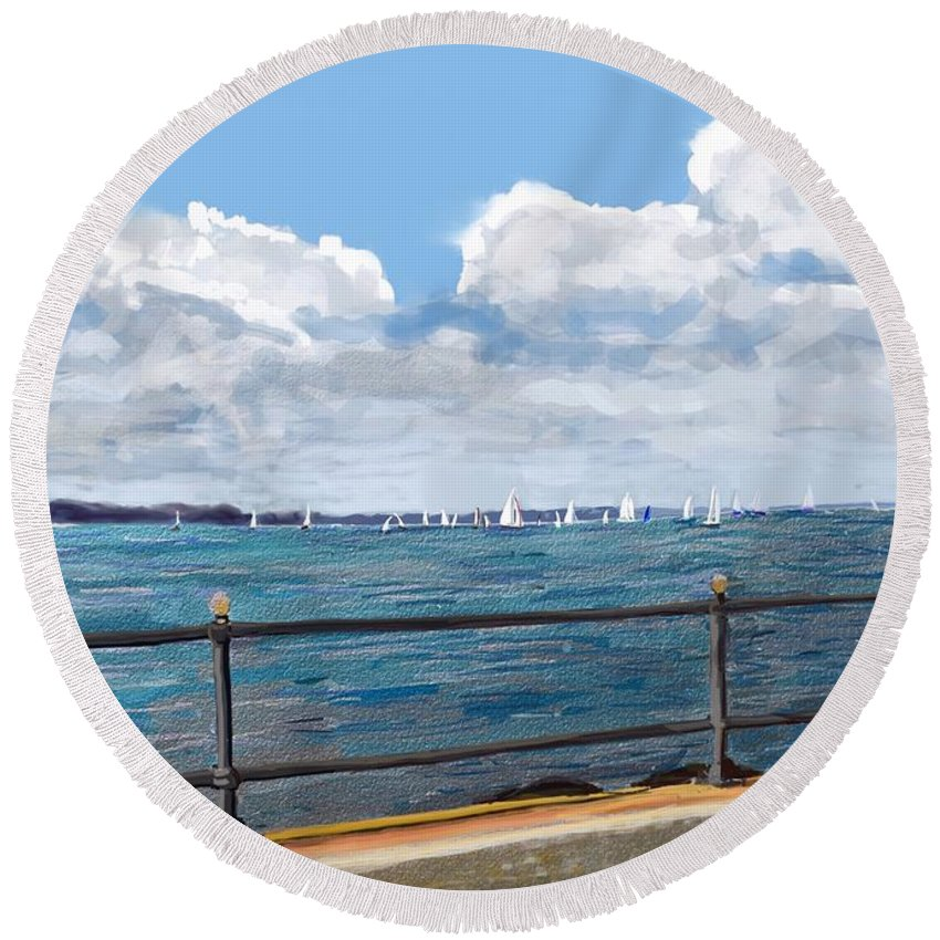 Cowes Round Beach Towel featuring the painting Cowes Regatta by Karen Harding
