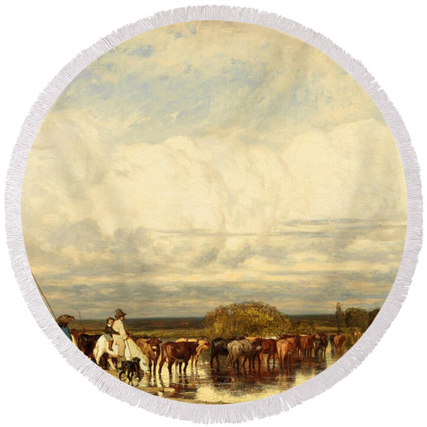 Jules Dupre Round Beach Towel featuring the painting Cows Crossing A Ford by Jules Dupre