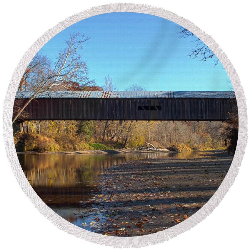 Parke County Indiana Round Beach Towel featuring the photograph Cox Ford Bridge by Thomas Sellberg