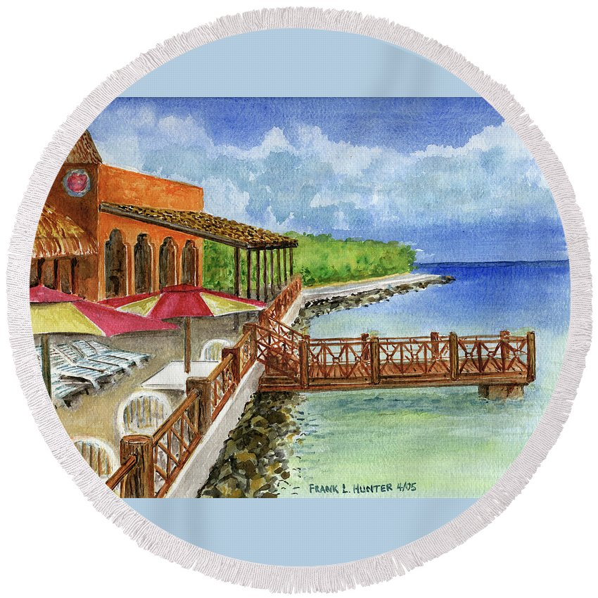 Cozumel Mexico Little Pier Round Beach Towel featuring the painting Cozumel Mexico Little Pier by Frank Hunter