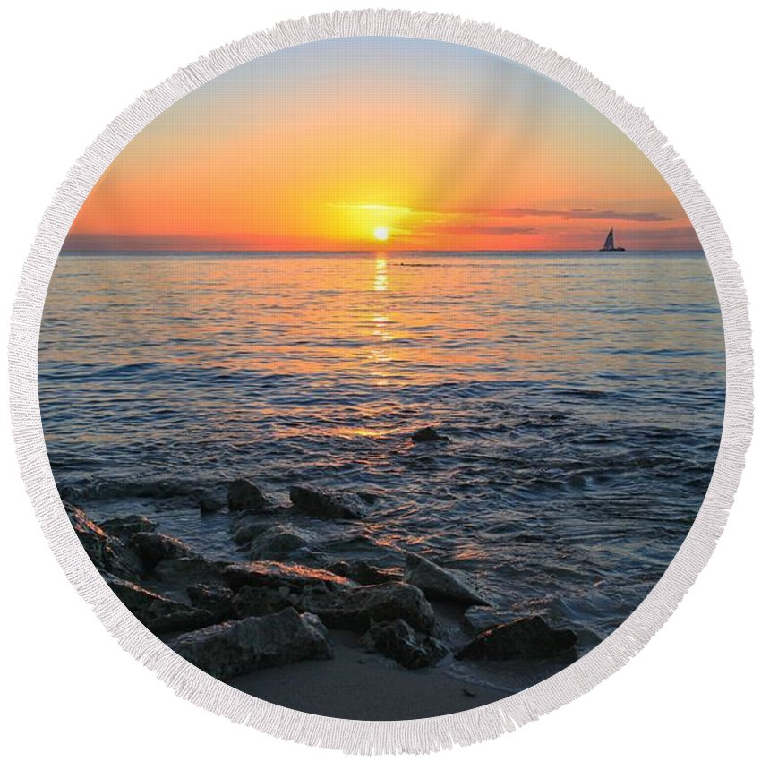 Cozumel Sunset Round Beach Towel featuring the photograph Cozumel Sunset by Adam Jewell
