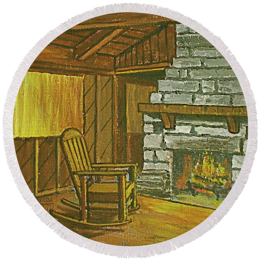 Cozy Fireplace Lake Hope Chimney Chair Yellow Curtains. Round Beach Towel featuring the painting Cozy Fireplace At Lake Hope Ohio by Frank Hunter