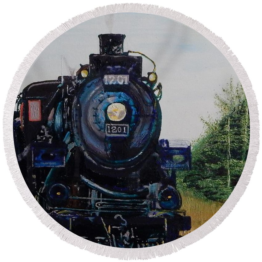 Trains Round Beach Towel featuring the painting Cp 1201 by Betty Compton