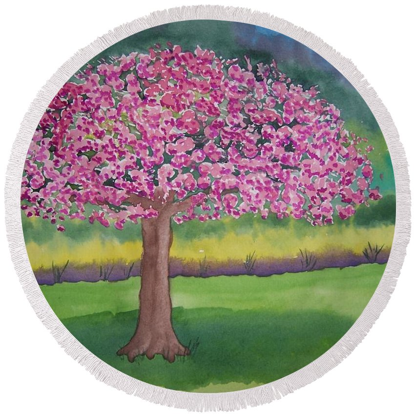 Landscape Round Beach Towel featuring the painting Crab Apple Tree by B Kathleen Fannin