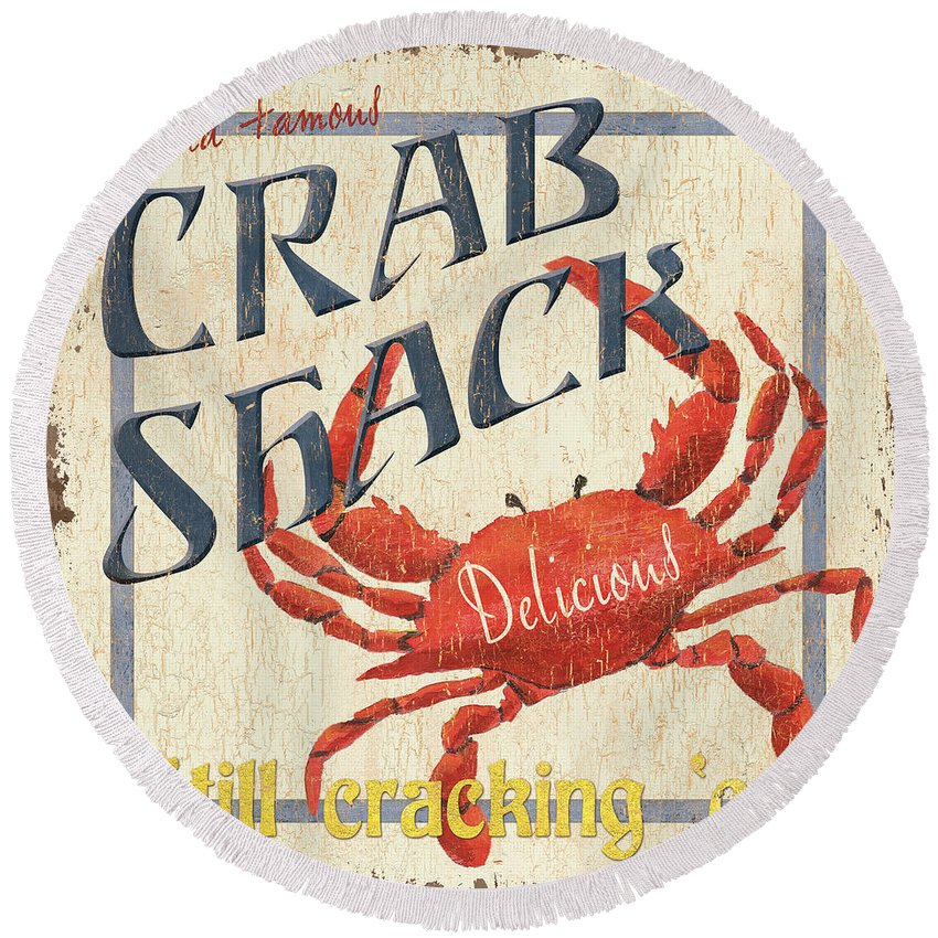 Crab Round Beach Towel featuring the painting Crab Shack by Debbie DeWitt