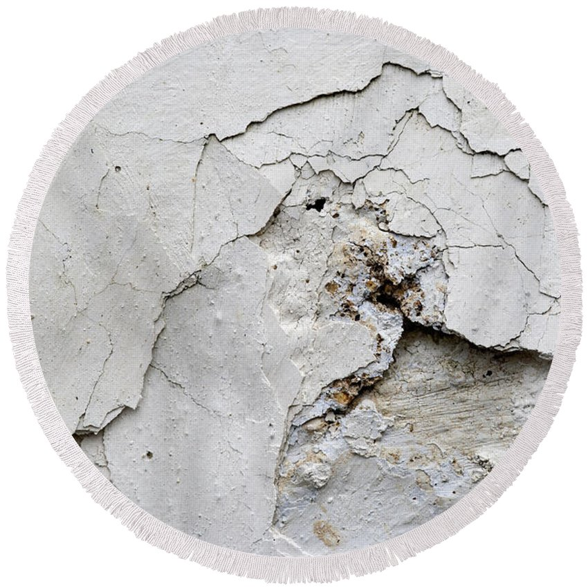 Plaster Round Beach Towel featuring the photograph Cracked Stucco - Grunge Background by Michal Boubin