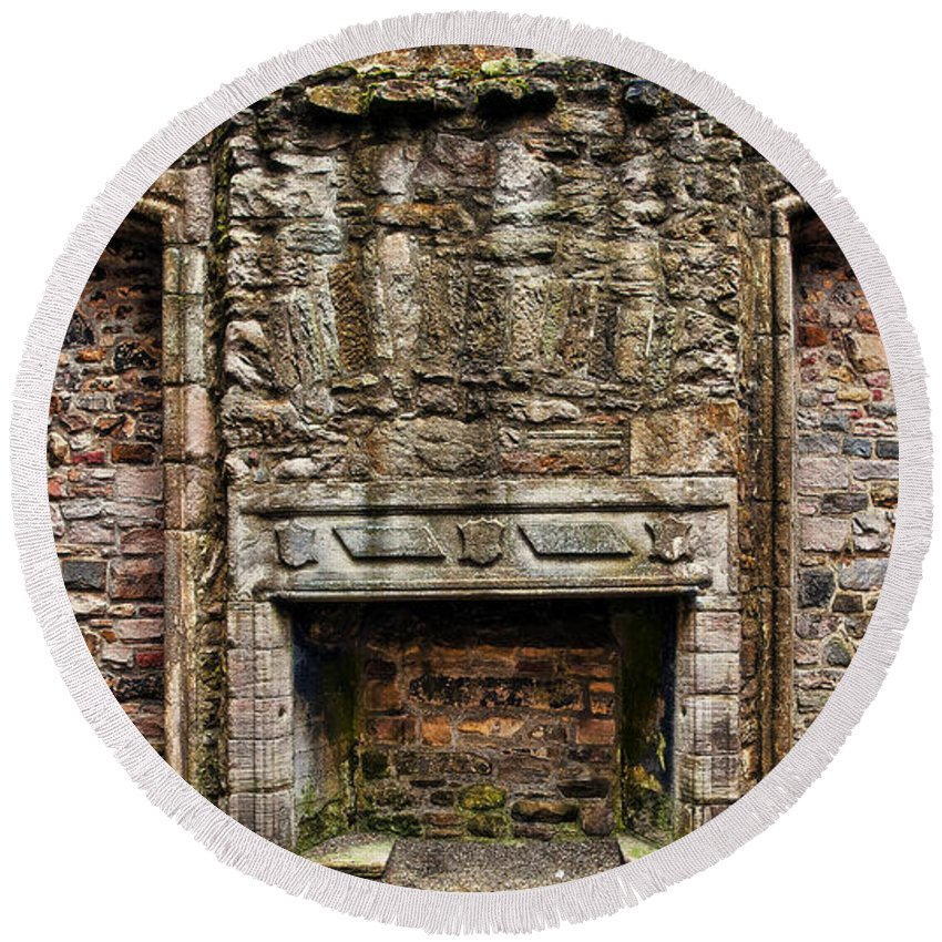 Architecture Round Beach Towel featuring the photograph Craigsmillar Castle Fireplace by Marcia Colelli