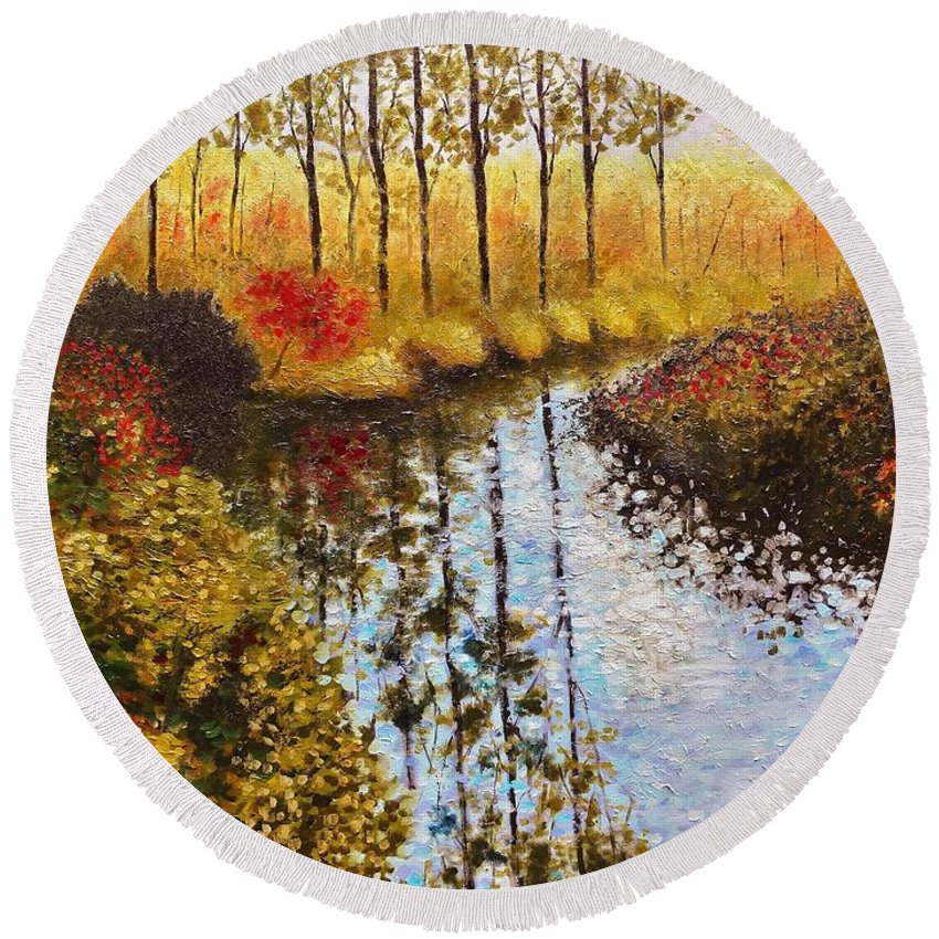 Landscape Round Beach Towel featuring the painting Cranberry Bog by Jason Williamson