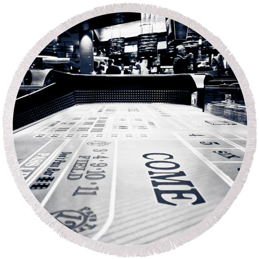Bet Round Beach Towel featuring the photograph Craps Table In Las Vegas by Anthony Doudt