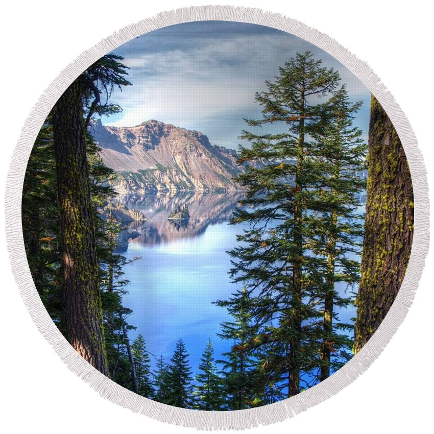 Crater Lake Oregon Round Beach Towel featuring the photograph Crater Lake 1 by Jacklyn Duryea Fraizer