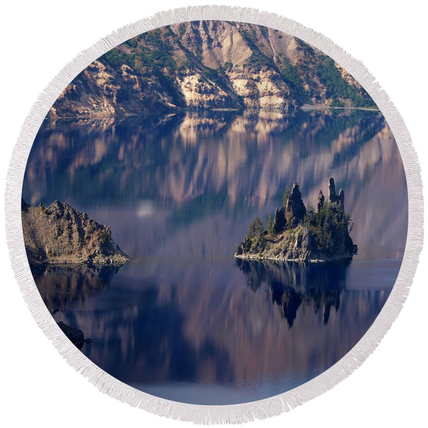 Crater Lake Oregon Round Beach Towel featuring the photograph Crater Lake 2 by Jacklyn Duryea Fraizer