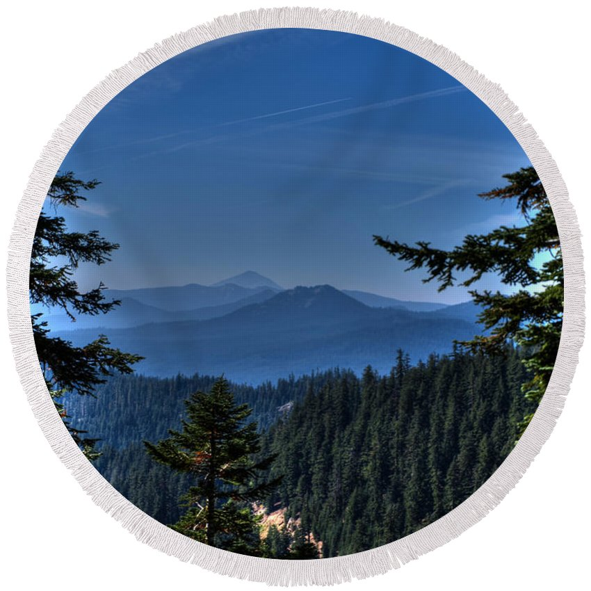 Crater Lake Oregon Round Beach Towel featuring the photograph Crater Lake 3 by Jacklyn Duryea Fraizer