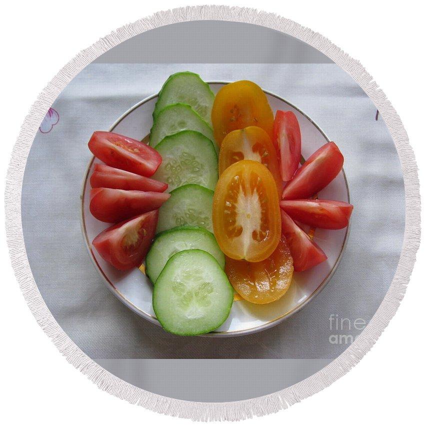 Food Round Beach Towel featuring the photograph Craving For Fresh Vegetables by Ausra Huntington nee Paulauskaite