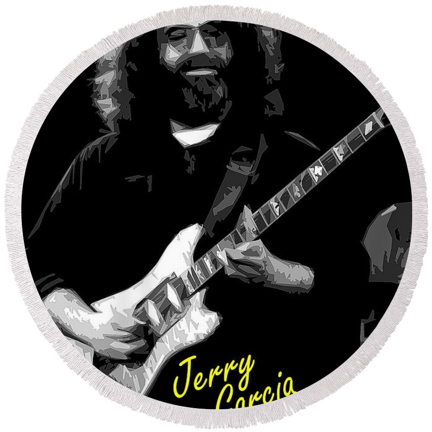 Jerry Garcia Round Beach Towel featuring the photograph Crazy Fingers 2 by Ben Upham