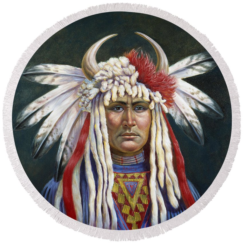 Crazy Horse Round Beach Towel featuring the painting Crazy Horse by Gregory Perillo