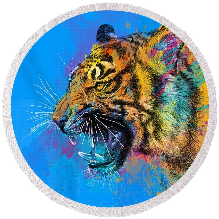 Tiger Round Beach Towel featuring the digital art Crazy Tiger by Olga Shvartsur