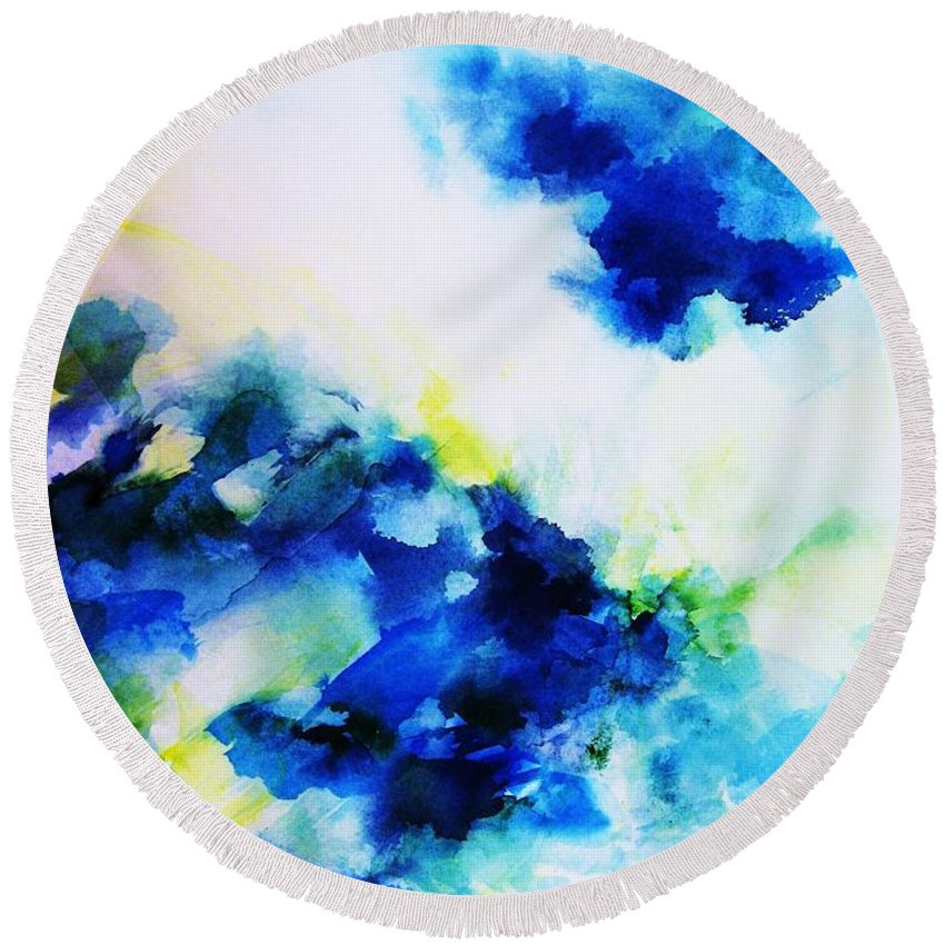 Abstract Round Beach Towel featuring the painting Creative Forces by Frances Ku