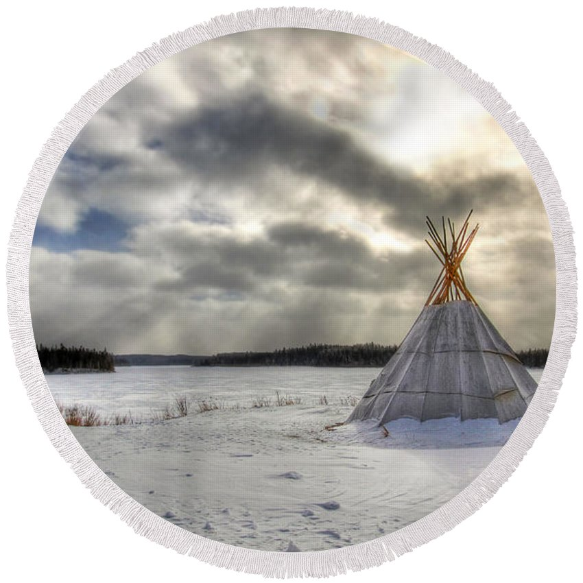 Cree Round Beach Towel featuring the photograph Cree Tepee by Mircea Costina Photography