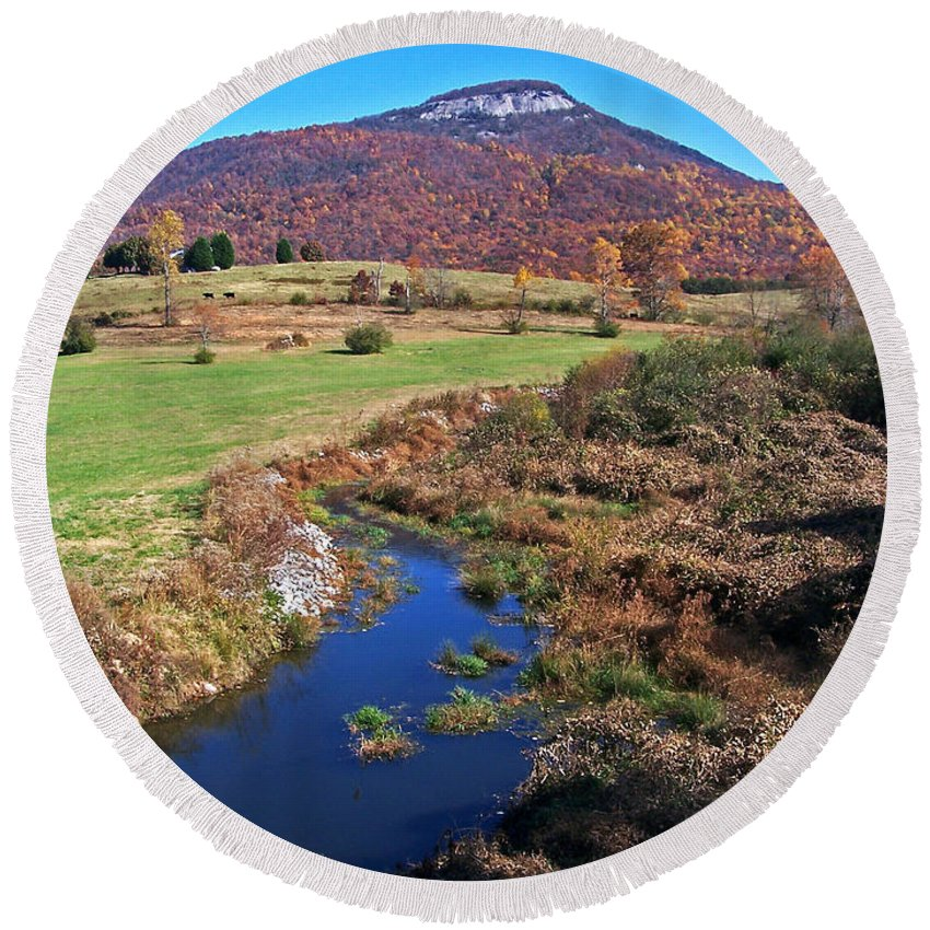 Creeks Round Beach Towel featuring the photograph Creek In The Valley by Jennifer Robin
