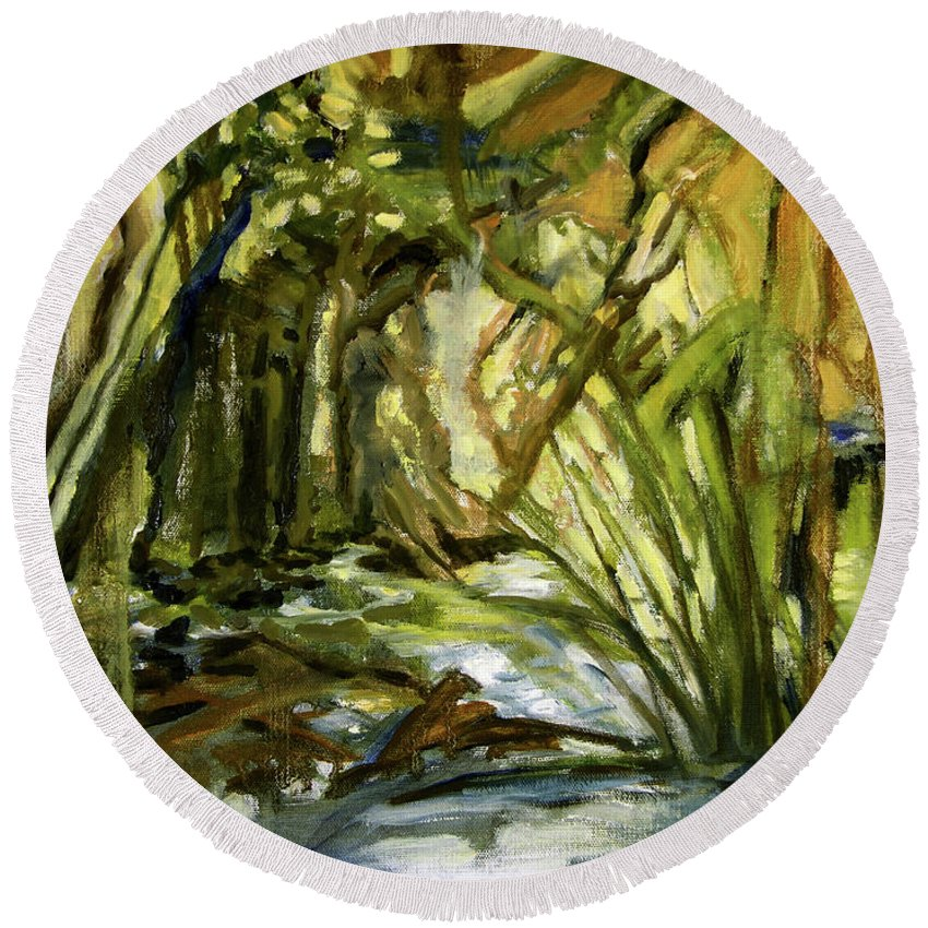 Nature Round Beach Towel featuring the painting Creek Levels With Overhang by Julianne Felton