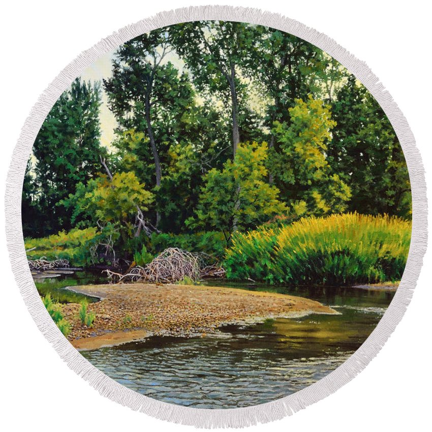 Landscape Round Beach Towel featuring the painting Creek's Bend by Bruce Morrison