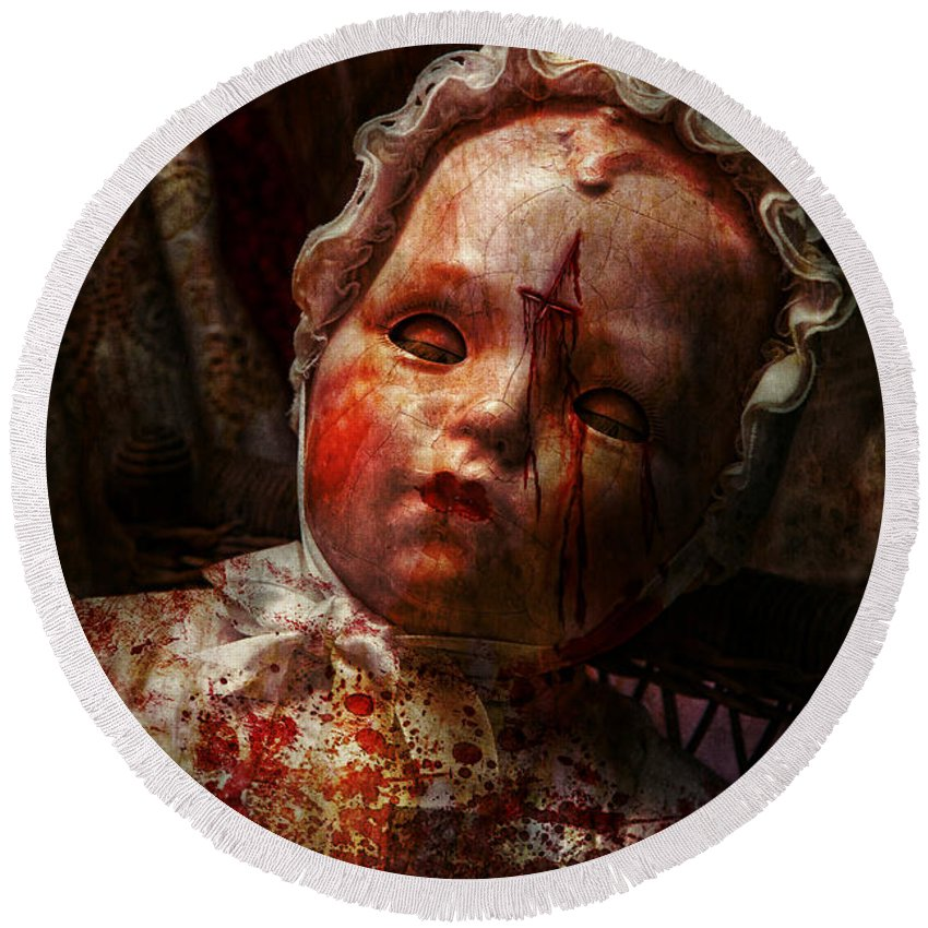 Doll Round Beach Towel featuring the photograph Creepy - Doll - It's Best To Let Them Sleep by Mike Savad