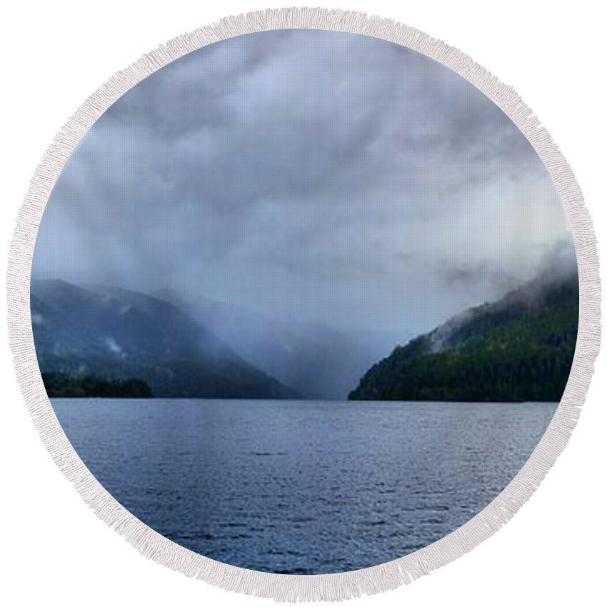 Clouds Round Beach Towel featuring the photograph Crescent Lake by David Andersen