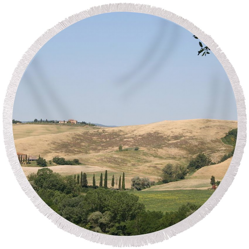 Landscape Round Beach Towel featuring the photograph Crete Senesi by Christiane Schulze Art And Photography