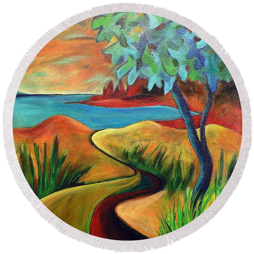 Landscape Round Beach Towel featuring the painting Crimson Shore by Elizabeth Fontaine-Barr