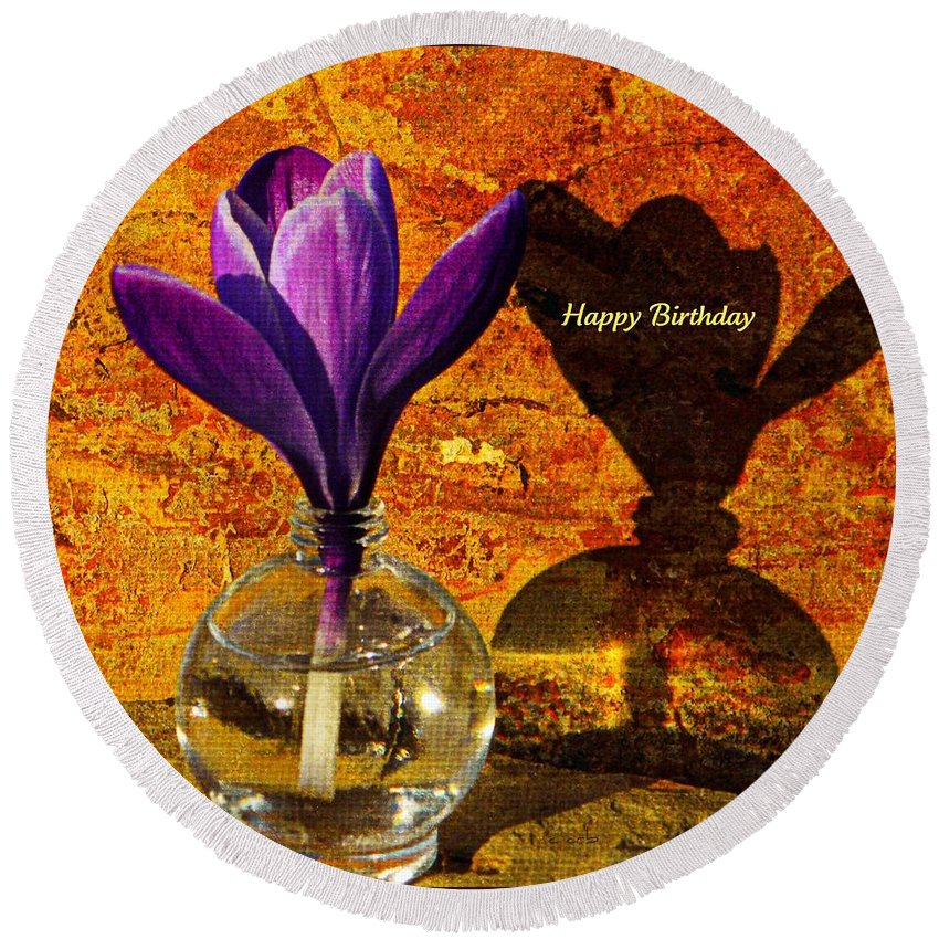 Card Round Beach Towel featuring the photograph Crocus Floral Birthday Card by Chris Berry