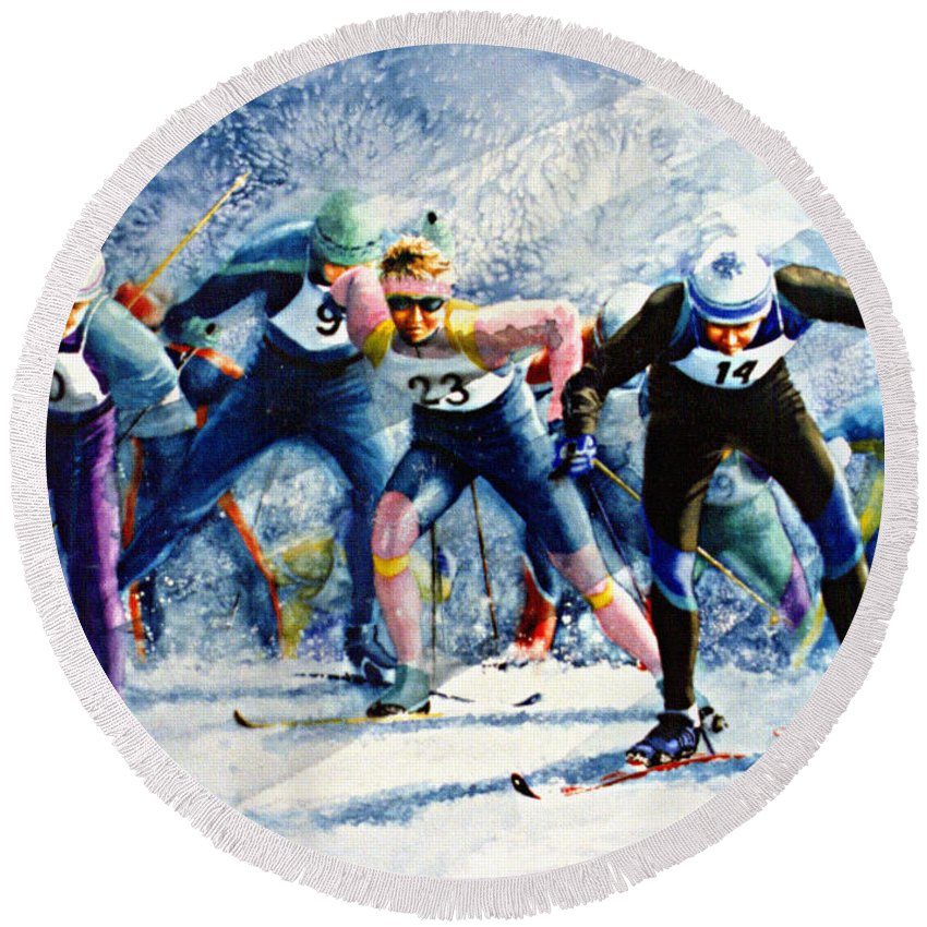 X-country Skiing Round Beach Towel featuring the painting Cross-country Challenge by Hanne Lore Koehler