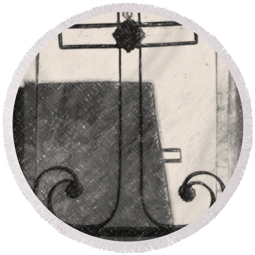 Cross Round Beach Towel featuring the photograph Crosses Voided Wrought Iron _ Nola by Kathleen K Parker