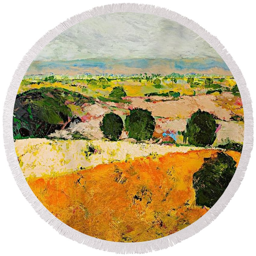 Landscape Round Beach Towel featuring the painting Crossing Paradise by Allan P Friedlander