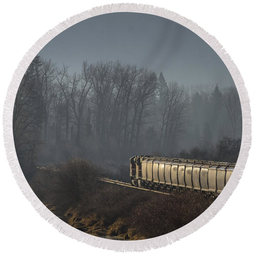 Train Round Beach Towel featuring the photograph Crossing The Delta - 150310a-021 by Albert Seger
