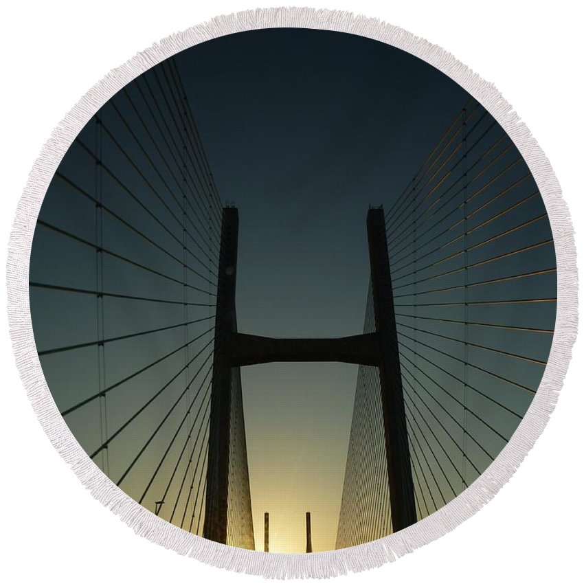 Crossing Round Beach Towel featuring the photograph Crossing The Severn Bridge At Sunset - Cardiff - Wales by Vicki Spindler
