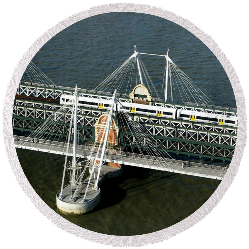 London Round Beach Towel featuring the photograph Crossing The Thames by Ann Horn