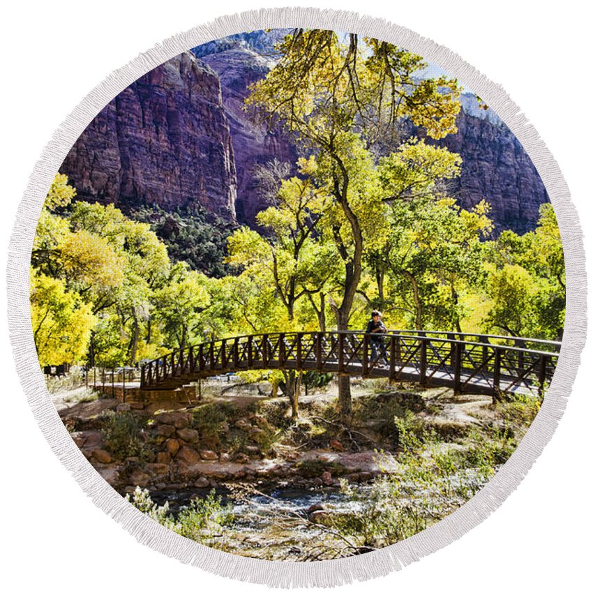 Zion National Park Utah Round Beach Towel featuring the photograph Crossover The Bridge - Zion by Jon Berghoff