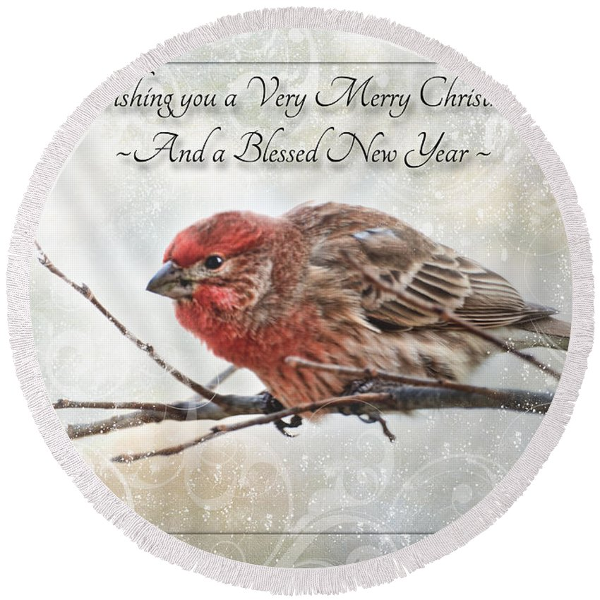 Animals Round Beach Towel featuring the photograph Crouching Finch Christmas Greeting Card by Debbie Portwood