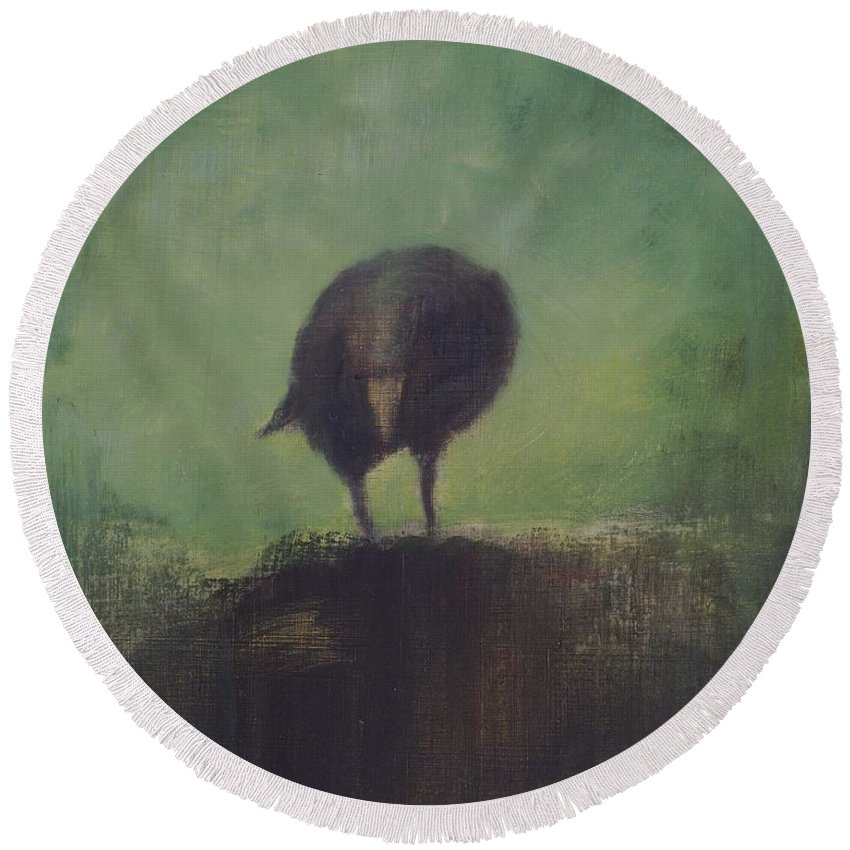 Crow Round Beach Towel featuring the painting Crow 12 by David Ladmore