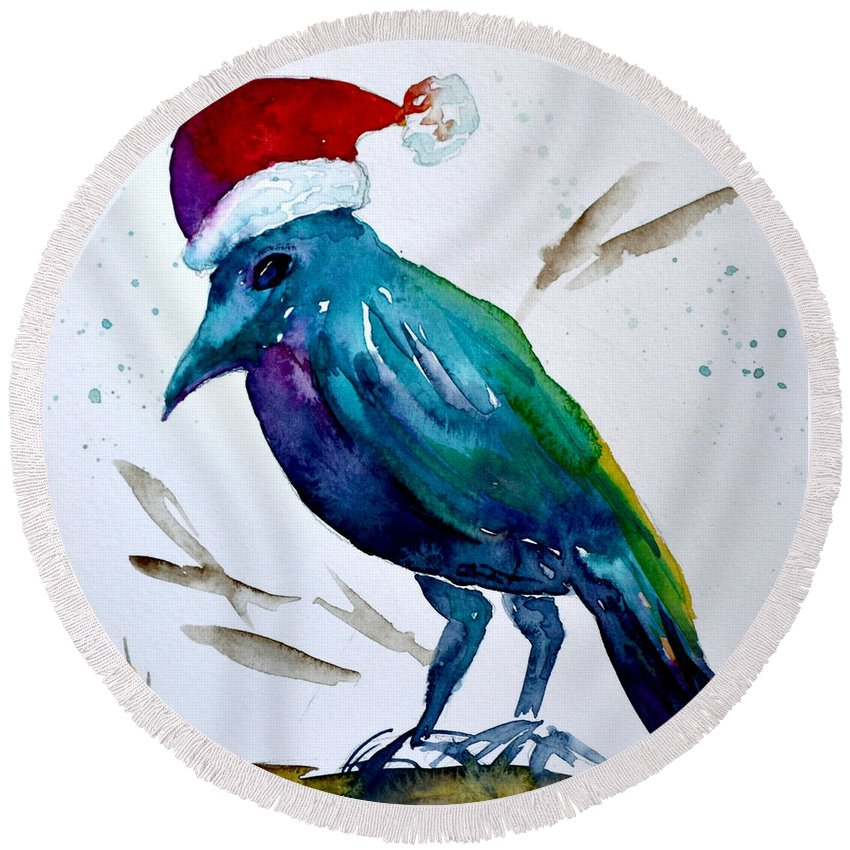 Crow Ho Ho Round Beach Towel featuring the painting Crow Ho Ho by Beverley Harper Tinsley