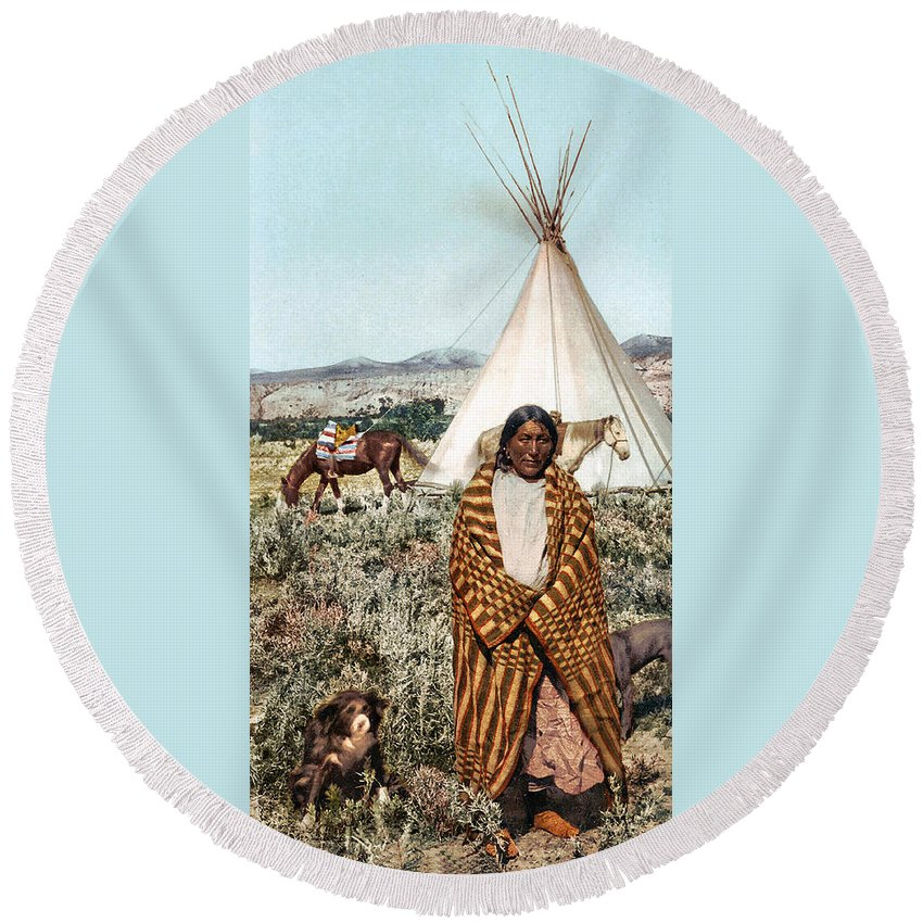 Crow Indian 1902 Round Beach Towel featuring the photograph Crow Indian 1902 by Unknown