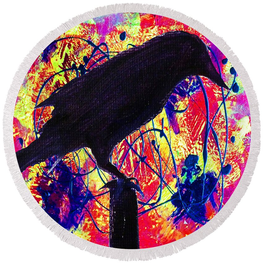 Abstract Round Beach Towel featuring the painting Crow On Red by Nancy Merkle