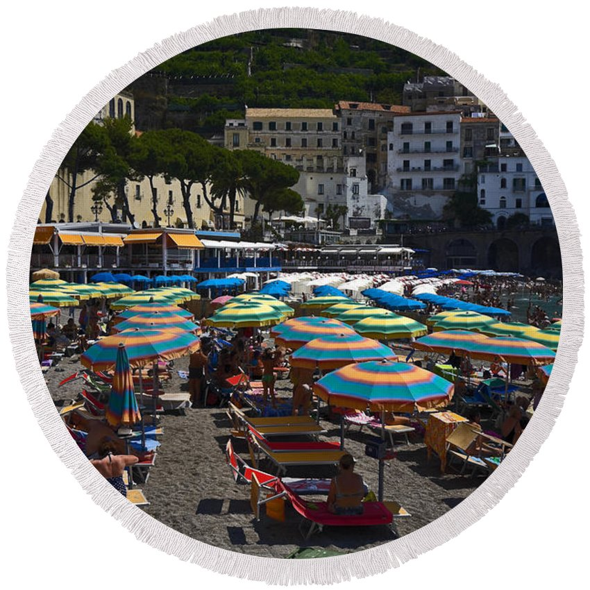 Crowded Beach Round Beach Towel featuring the photograph Crowded Beach by Sally Weigand