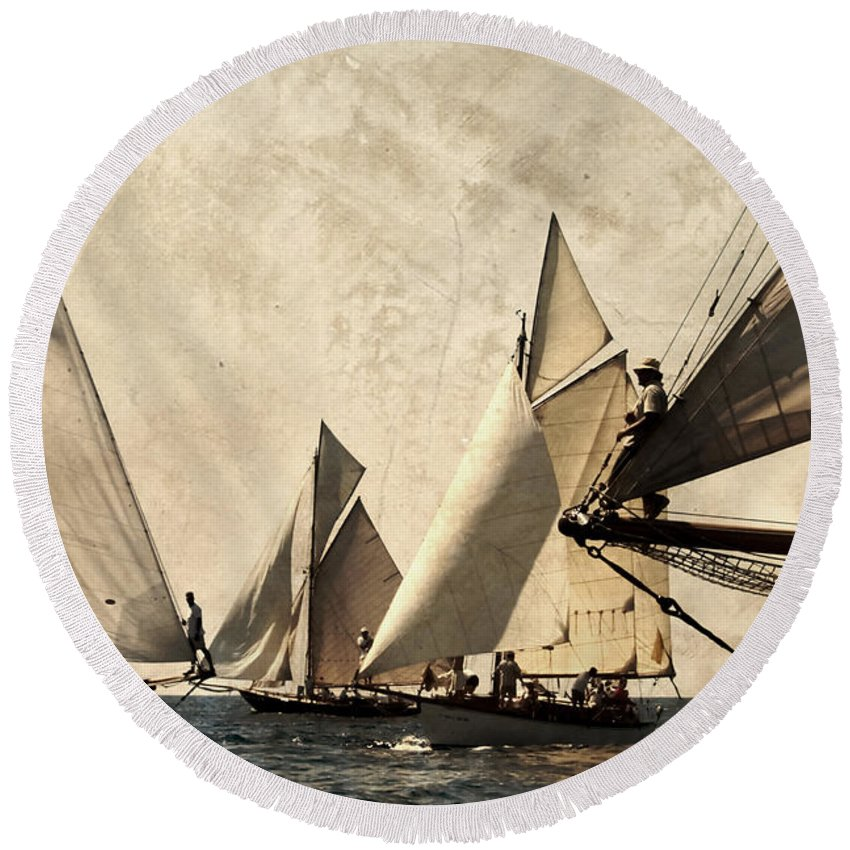 Outdoor Round Beach Towel featuring the photograph A Vintage Processed Image Of A Sail Race In Port Mahon Menorca - Crowded Sea by Pedro Cardona Llambias